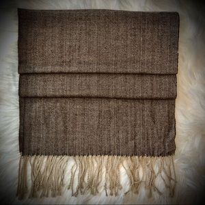 Italy Design Brown/Beige Cashmere Blend Scarf
